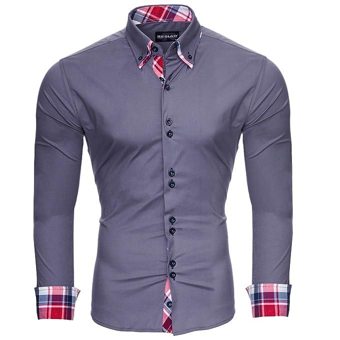 low priced 47f27 47b73 Reslad Herren Hemd Slim Fit Bügelleicht Ideal für Anzug, Business, Hochzeit  | Freizeithemd Langarm Männer-Hemden RS-7015
