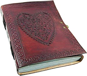 Large Vintage Heart Embossed Leather Journal/Instagram Photo Album (Handmade paper) - Coptic Bound with Lock Closure by P&A Handmade