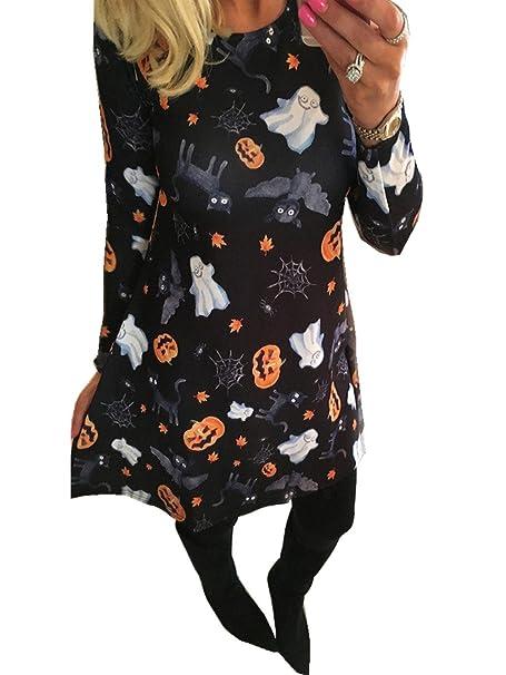 e4d90a83f3 Vestido de Halloween para Mujer Vestido de Manga Larga Ghost Pumpkin Print  Vestido de Halloween Flared Swing Mini  Amazon.es  Ropa y accesorios
