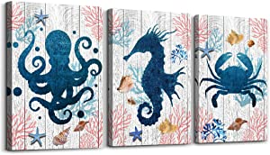 Black and white Sea Horse Octopus Crab 3 Piece Ocean Theme Canvas Wall Art for Living Room Kitchen Bedroom Bathroom wall decor Hang Picture Artwork Office Home decoration watercolor Wall paintings
