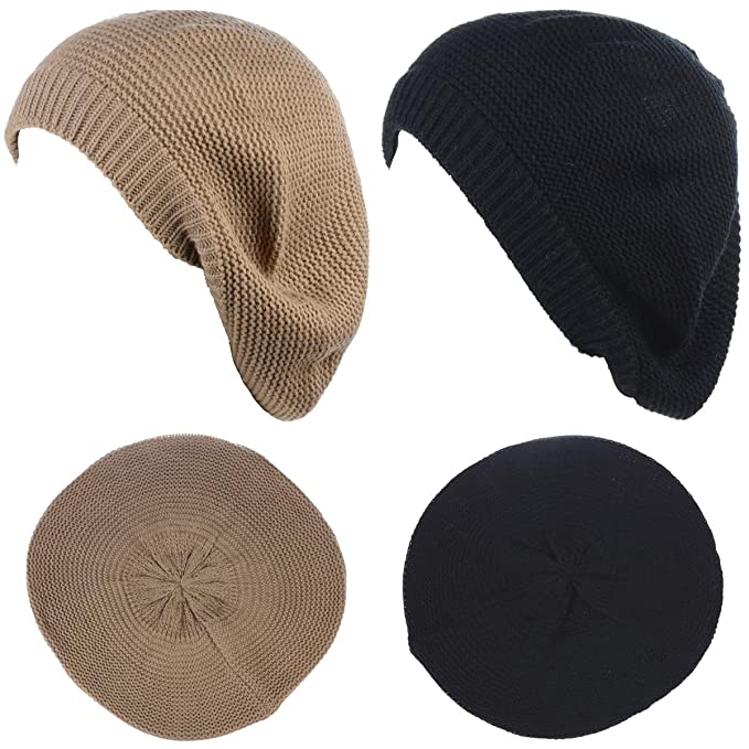 b90d13c5 JTL Beret Beanie Hat for Women Fashion Light Weight Knit Solid Color (One  Size,