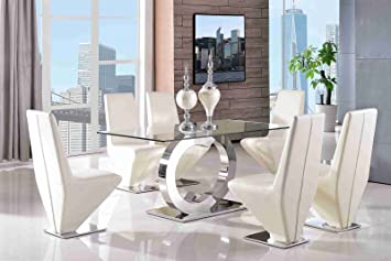 Channel 160cm Steel U0026 Clear Glass Dining Table + 6 Faux Leather Ivory  Chairs 160x90cm |