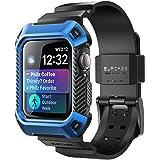 Apple Watch 4 手机壳,SUPCASE [独角兽甲壳虫 Pro] 坚固保护壳带表带适用于 Apple Watch Series 4 [44 毫米] 2018 版 蓝色