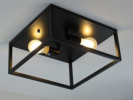 Lampadari E Plafoniere Abbinate : Alessia p n plafoniera industriale vintage acciaio nero diamantlux