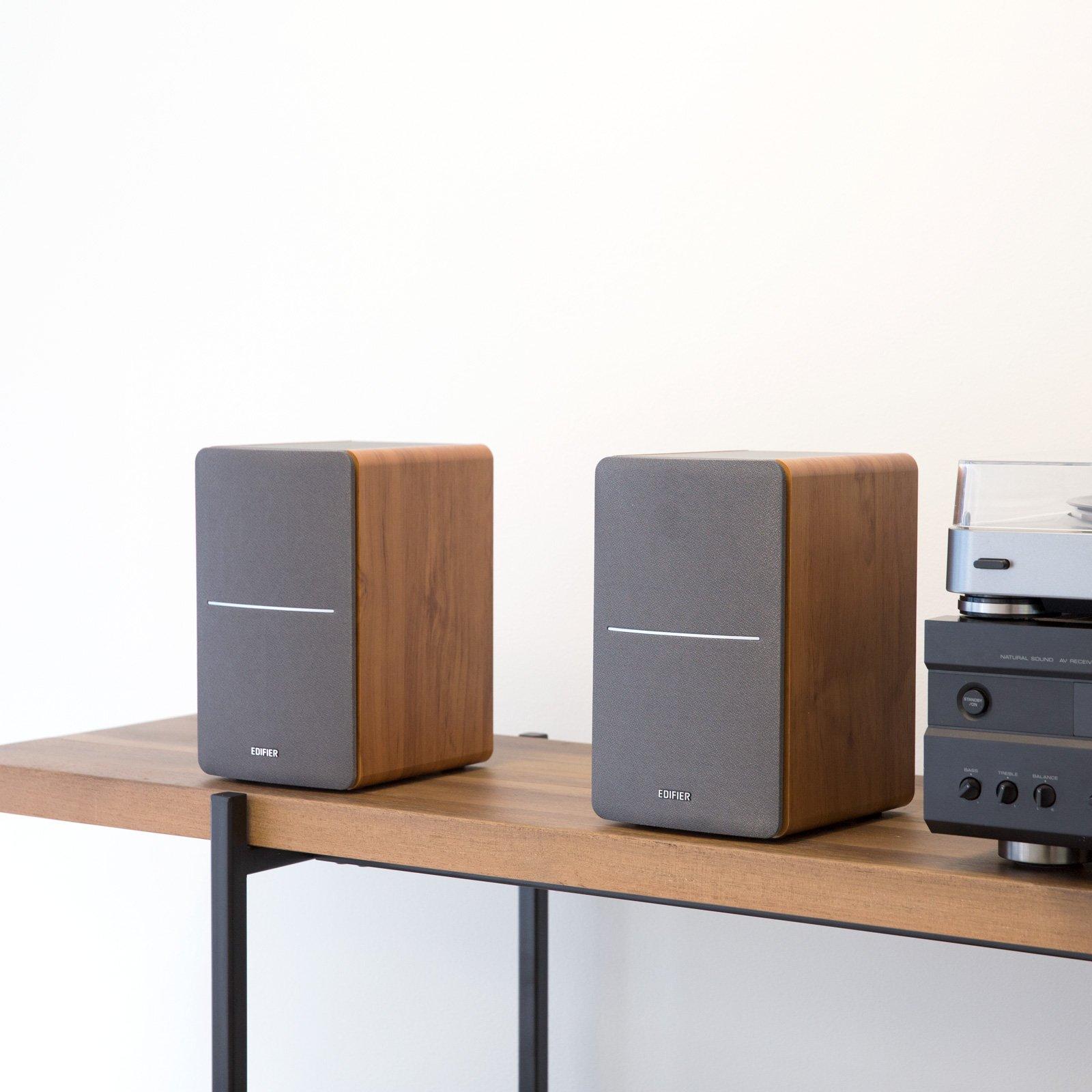 Edifier P12 Passive Bookshelf Speakers - 2-Way Speakers with Built-in Wall-Mount Bracket - Wood Color, Pair by Edifier (Image #7)