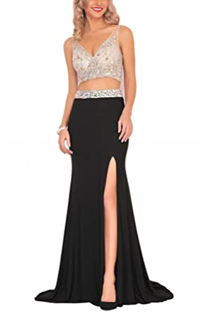 SOB Womens Beaded Two Piece Prom Dresses Long Side Slit Formal Evening Gowns Mermaid Black SOB213