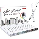 Shuttle Art 15 Colors Grey Tones Dual Tip Art Marker, Permanent Marker Pens Double Ended with Fine Bullet and Chisel Point Ti