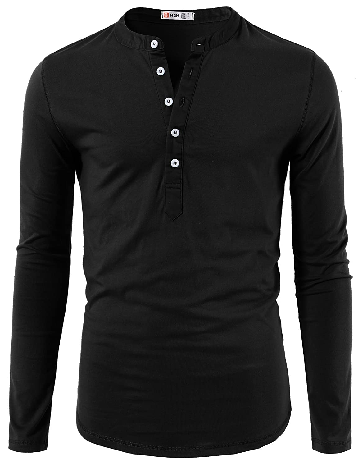 H2H Mens Casual Slim Fit Henley T-Shirt Long Sleeve of Various Styles