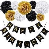 """KUNGYO Decoracion Cumpleaño Incluye Pancarta Colgante """"Happy Birthday"""" Con 9 piezas Papeles Tissue Pom Poms Flores para Decoraciones de Fiesta(Bandera Negro Letra Dorado)"""