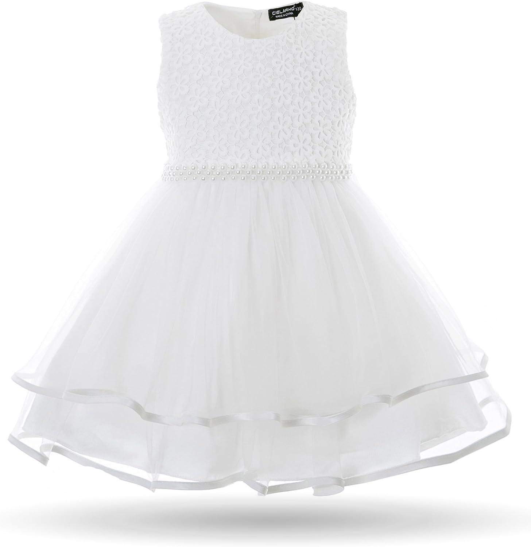 Cielarko Infant Girls Flower Dress Pearls Beading Sleeveless Princess Wedding Birthday Party Christening Baby Dresses