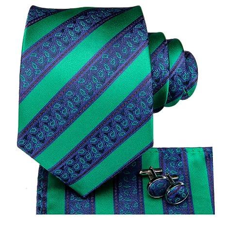 FDHFC 8.5Cm 100% Seda Hombre Azul Verde Corbatas Rayas Corbata ...