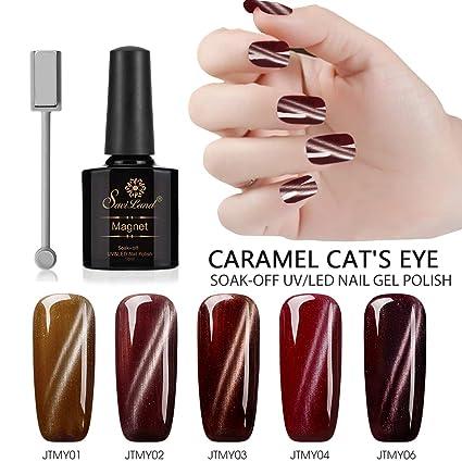 Juego de 5 esmaltes de uñas magnéticos de color caramelo, Saviland Soak Off UV/