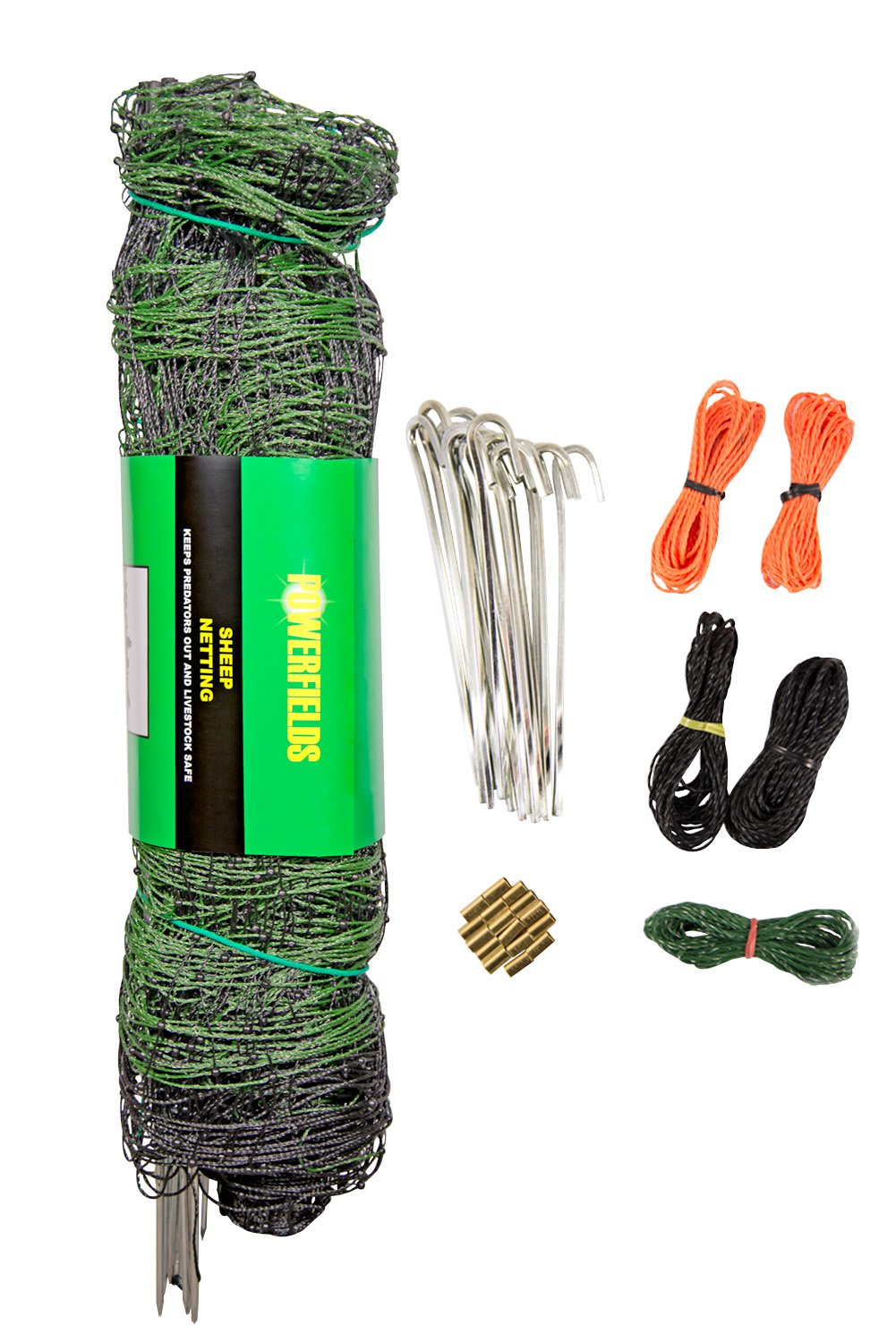 Powerfields P-89-G Electric 40'' Poultry / Goat Fence-Netting, 40-Inches Tall x 165-Feet Long Netting, 15 Line Post, 19 Stakes, 2 Tie Down Cords, Repair Kit, Black/White Netting