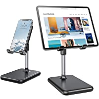 LISEN Tablet Stand, [Never Tip Over] iPad Stands and Holders for Desk [2021 Upgraded] Height & Angle Adjustable iPhone Holder for Desk Compatible with All Tablets & Smartphones