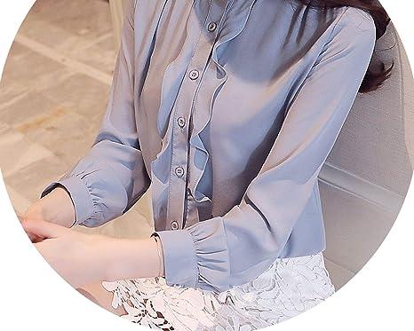 b32633e6a1 2019 Tops and Blouses Harajuku Chiffon Blouse Shirt Ruffles Stand ...