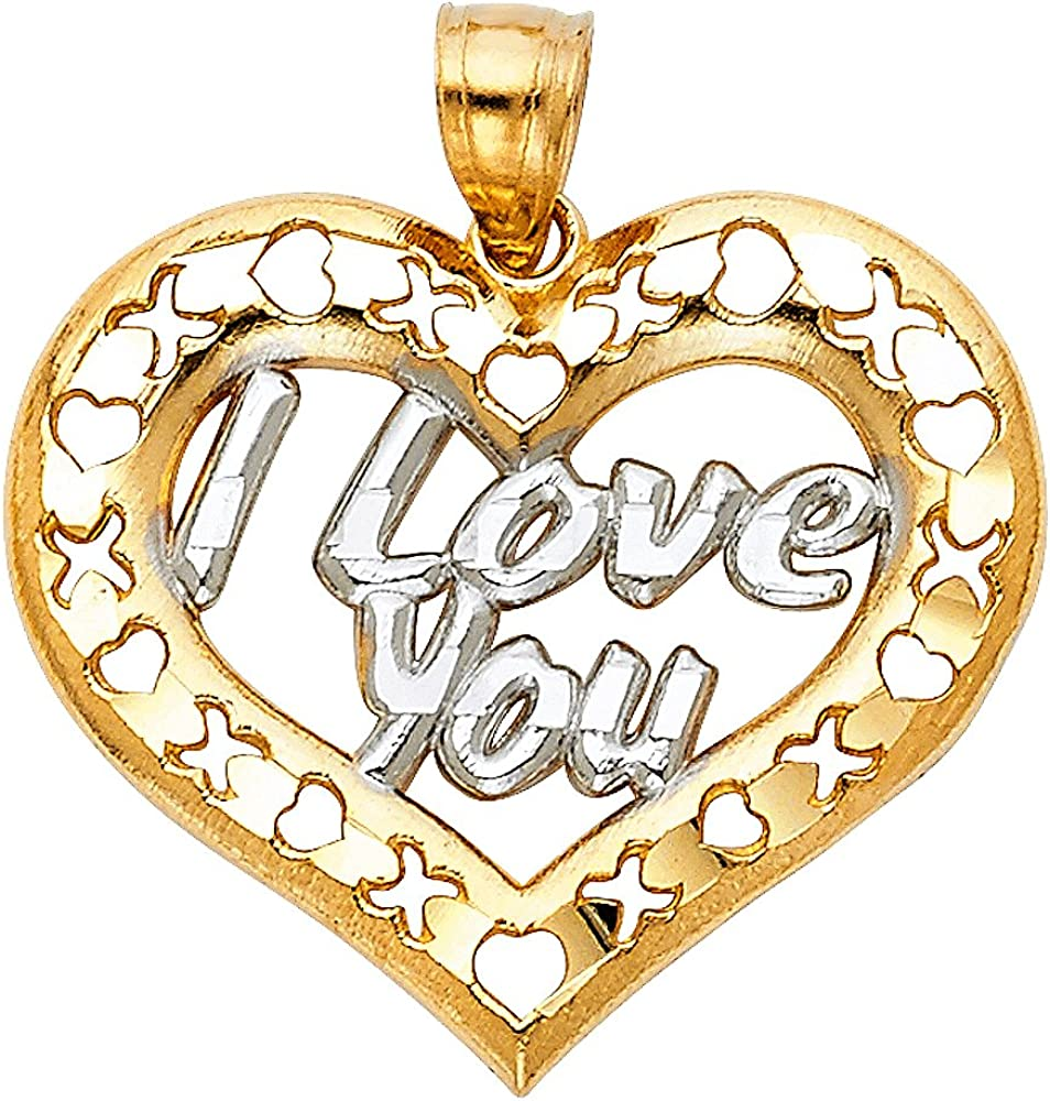 14K Yellow Gold I Love You Heart Charm Pendant For Necklace or Chain Ioka