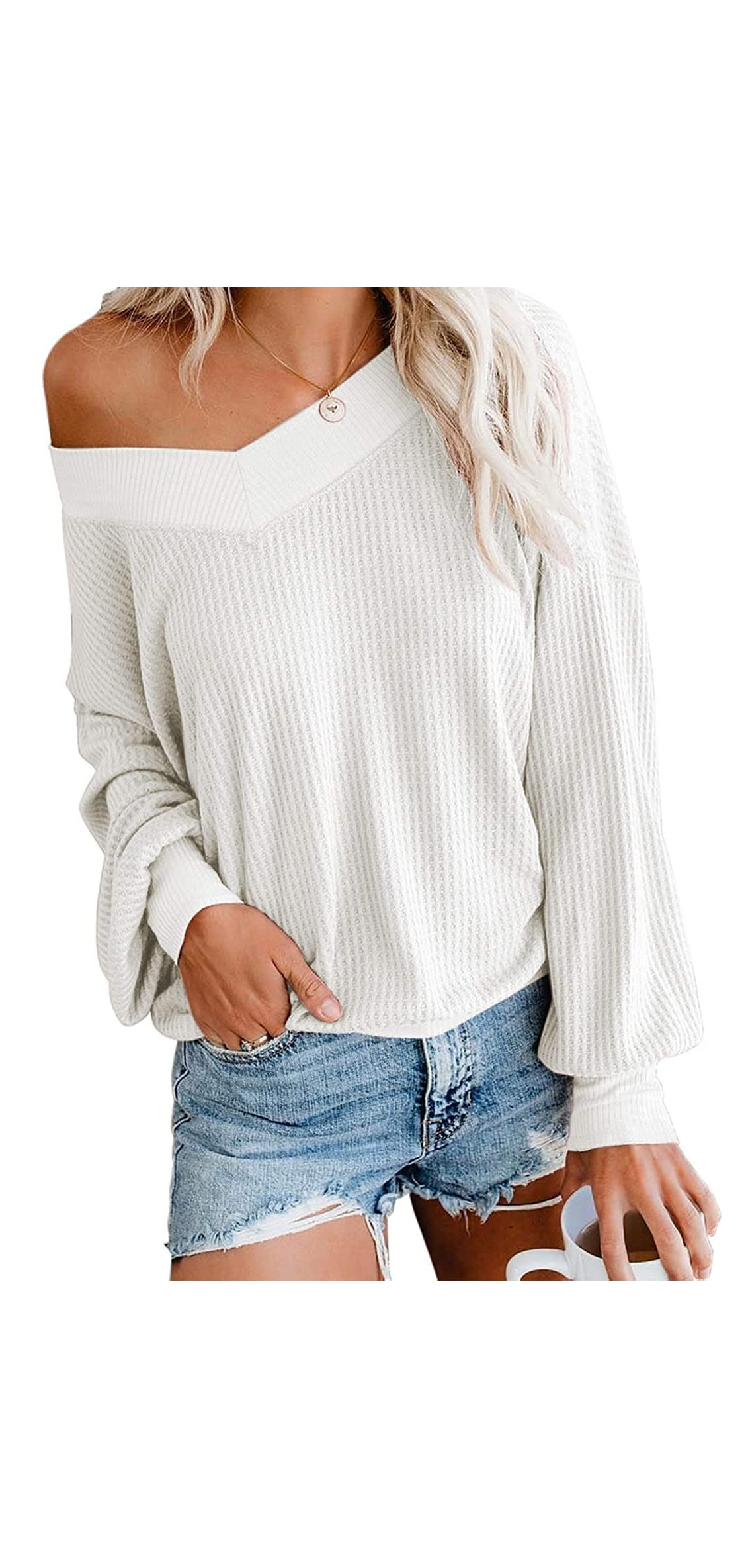 Womens Off The Shoulder Tops V Neck Waffle Knit Long