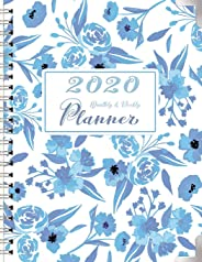 2020 Monthly and Weekly Planner: One Year Calendar Planner from JAN 2020 to DEC 2020 with Monthly and Weekly View, Birthday, Password, Goals, To Do ... Shades of Light Blue Sky Flower Blossom Cover