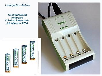 Cargador CRC de H4 (Incluye 4 pilas Panasonic AA 2700 mAh ...