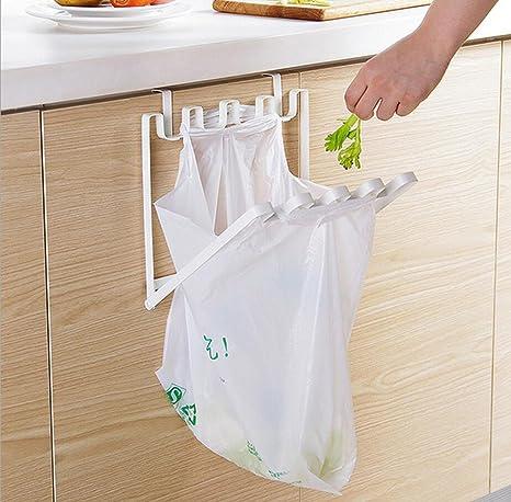 Vlunt porte-sacs papelera soporte para bolsa de basura plegable pr/áctico para colgar de armarios de cocina bolsa de basura de almacenamiento en hierro