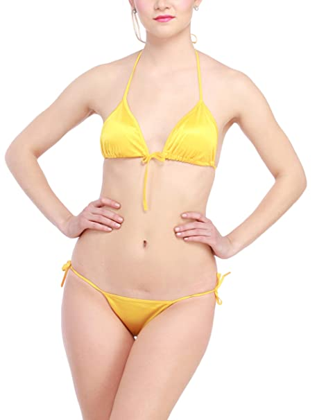 Halter Front Knot Braamp; String Glus Satin Open Women's Bikini Set mN80nvwO
