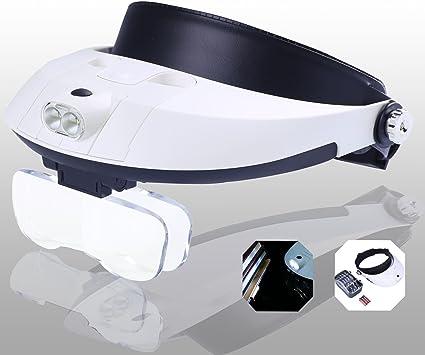 Yoctosun Lupenbrille Led Licht Hände Frei Kopfbandlupe Brillenlupe Mit Beleuchtung 2 Led 5 Linsen 1 0x 1 5x 2 0x 2 5x 3 5x Vergrößerungsfaktoren Amazon De Bürobedarf Schreibwaren
