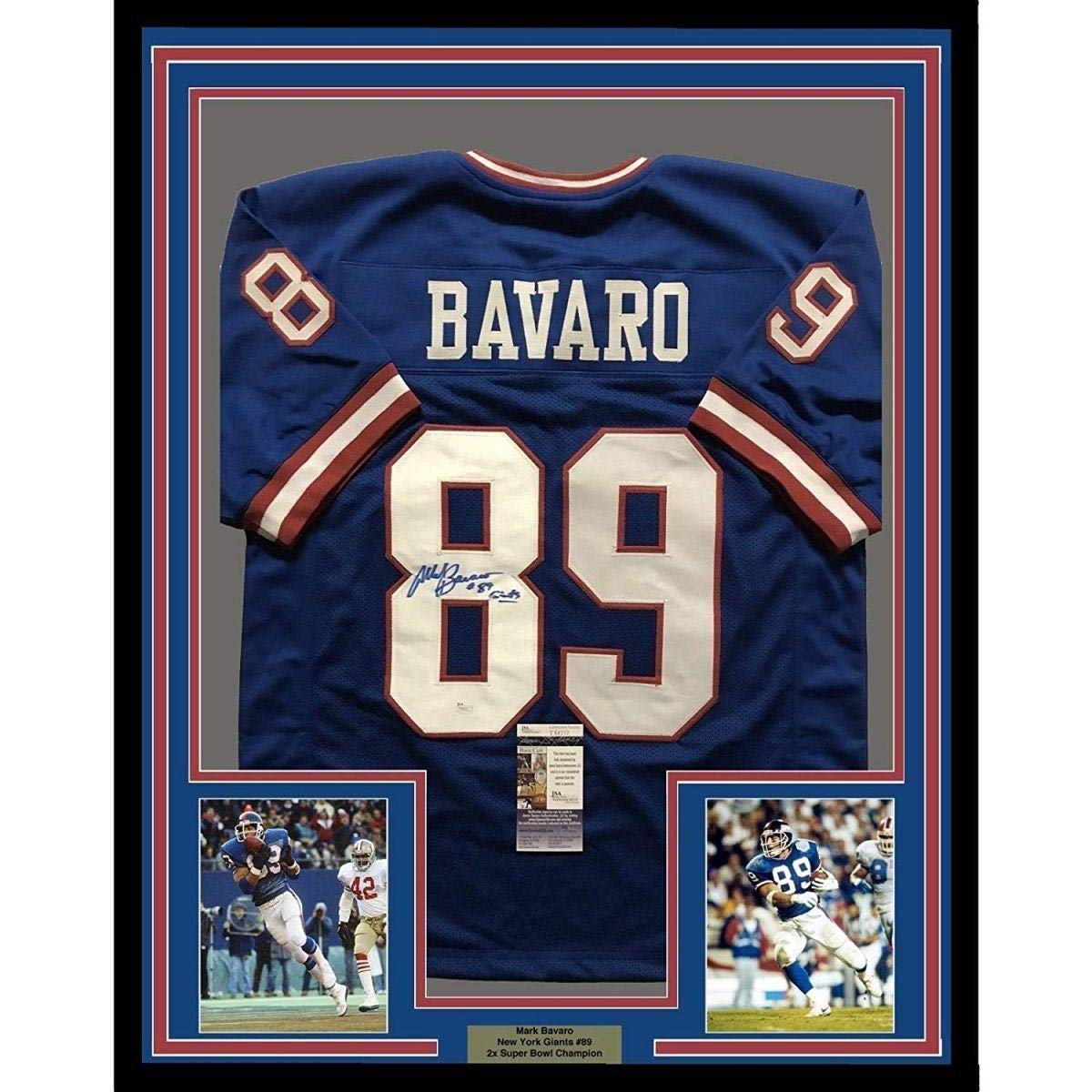 946d280786e Autographed Mark Bavaro Jersey - FRAMED 33x42 Blue COA - JSA Certified -  Autographed NFL Jerseys at Amazon s Sports Collectibles Store