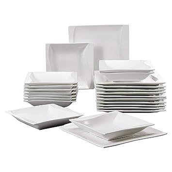MALACASA, Série Carina, 24pcs Assiettes Services de Table Porcelaine, 12  Assiettes Creuse Soupe 7e603df75fce