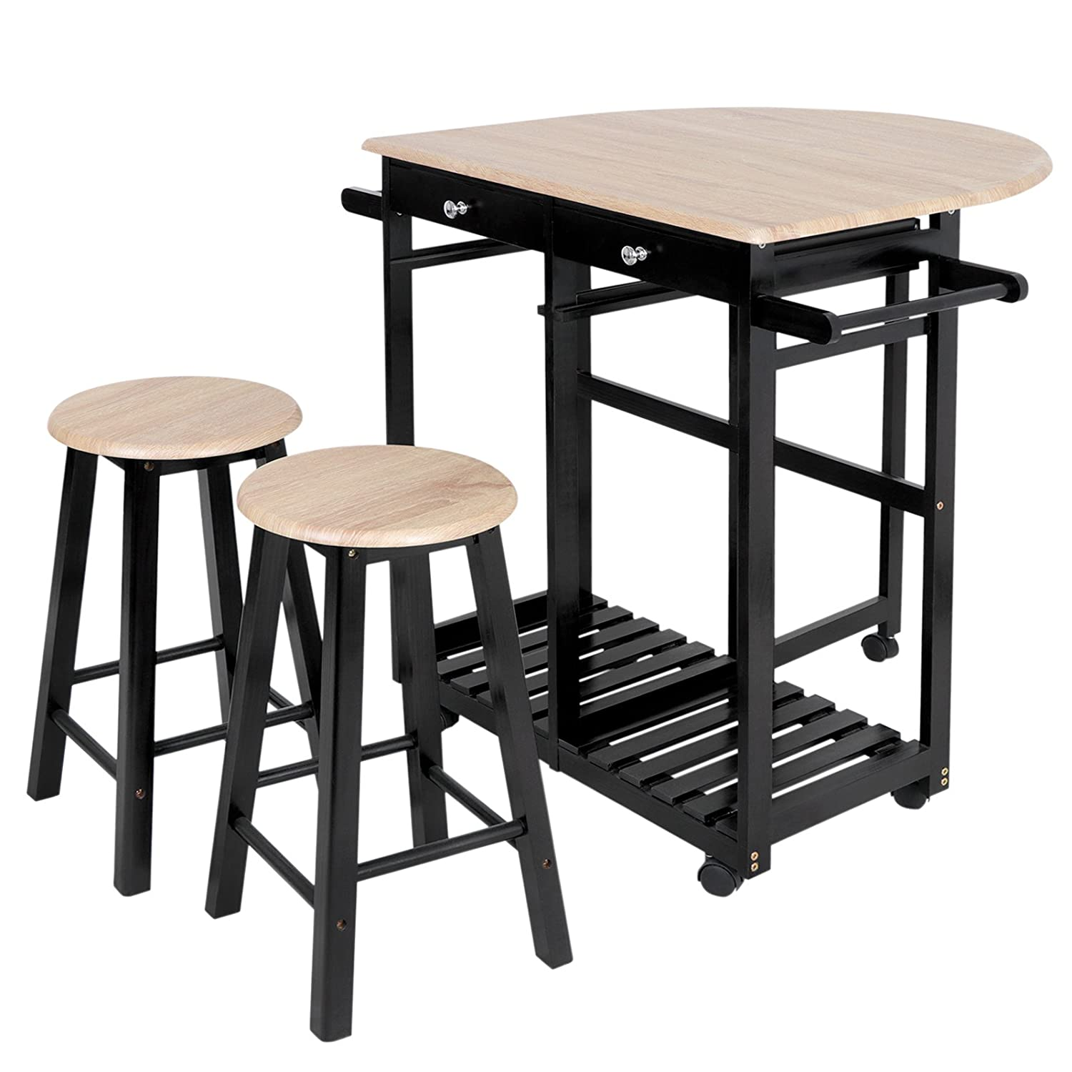 ZenChef 3-Piece Rolling Kitchen Island Trolley Cart Set Breakfast Bar Cart Drop-Leaf Folding Table w/2 Stools and 2 Drawers, Enjoy Indoor & Outdoor Dining at Anytime
