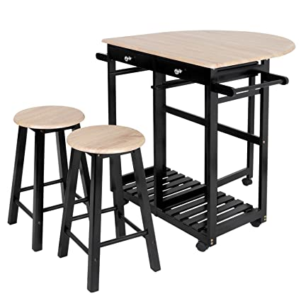 Superieur ZenChef 3 Piece Rolling Kitchen Island Trolley Cart Set Breakfast Bar Cart  Drop Leaf