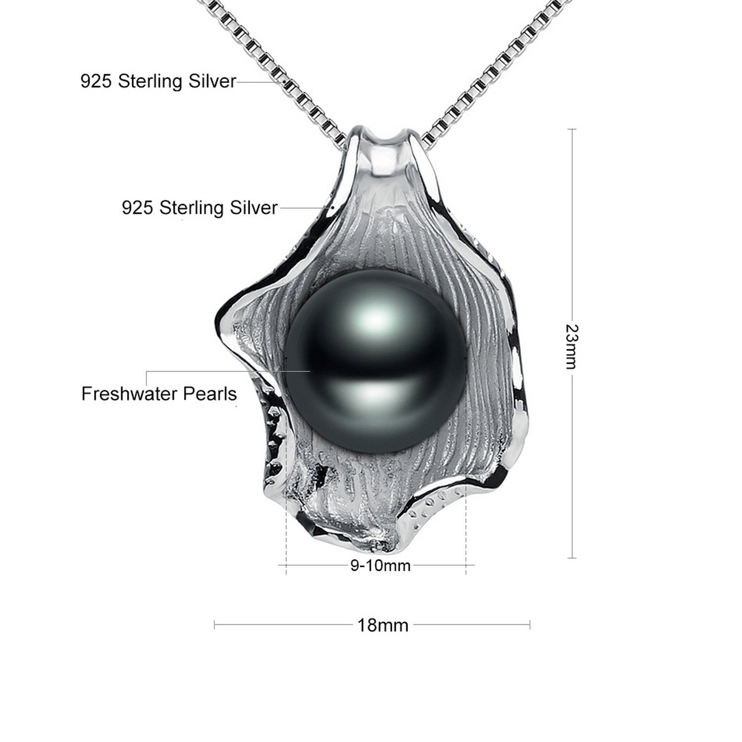 CS-DB Jewelry Silver Black Pearl Shell-Shaped Chain Charm Pendants Necklaces