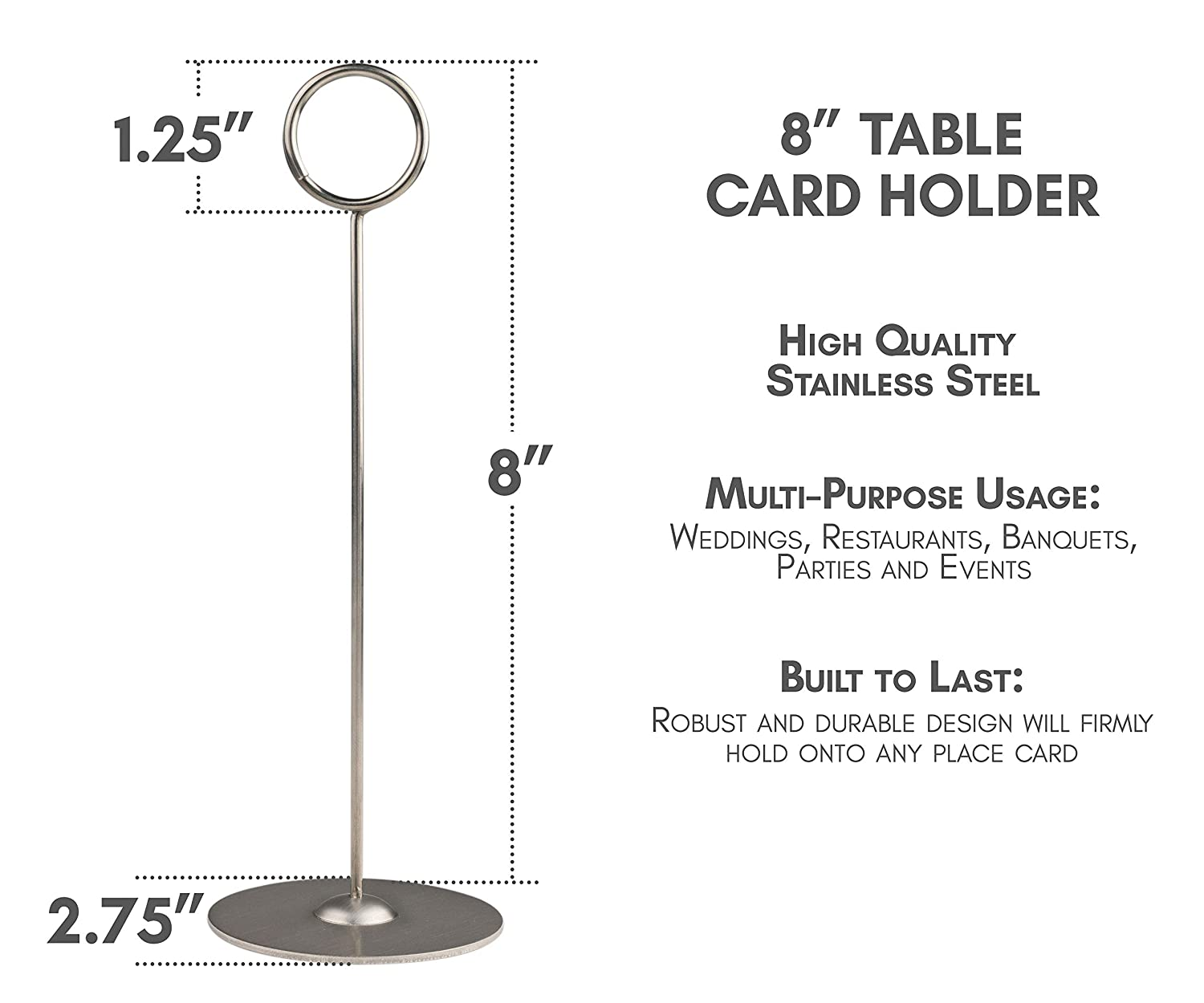 """Table Card Holders 15 Pack Banquets Table Number Stands Table Number Holders Qualitts 8/"""" Place Card Holders Parties Table Photo Holder for Weddings"""