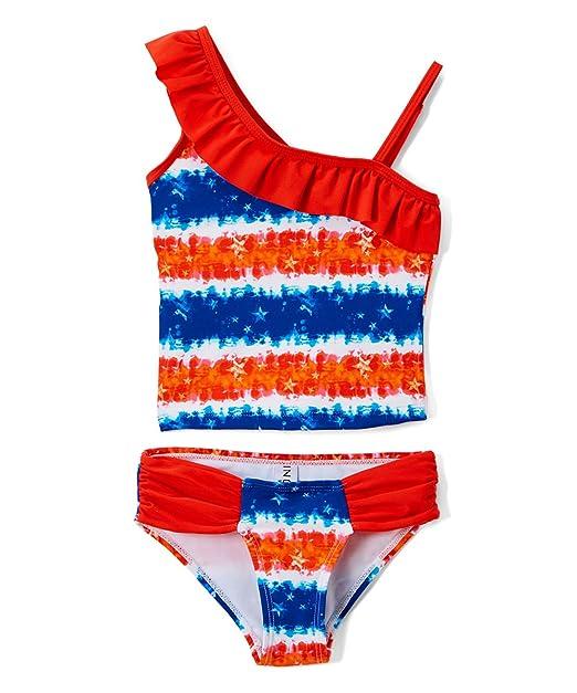 410b9c63bbd16 Girls Two Piece Tankini Swimsuit Tropical Ruffle Swimwear UPF 50+ Sun  Protection Bathing Suit Set