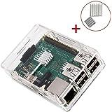 Raspberry Pi 3 Gehäuse, KuGi ® Raspberry Pi 3 Modell B Gehäuse - Hochwertige PC-Schutzhülle mit 2x Heatsinks für Raspberry Pi 3 Modell B, Pi 2 Modell B & Pi Modell B + (klar)