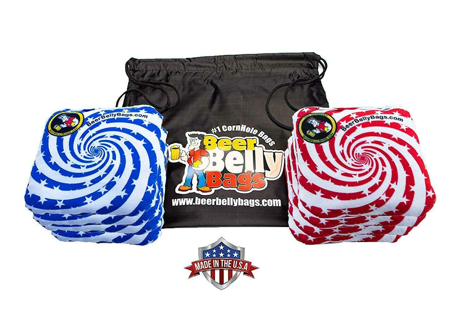 Beer Belly Bags Cornhole - Performance Series 8 Bags ACL Approved Resin Filled - Double Sided - Sticky Side | Slick Side(Stars & Stripes) by Beer Belly Bags
