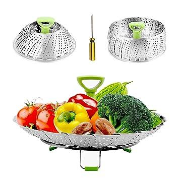 Cocina de acero inoxidable Cocina Vaporera de cocina para sartenes de 18 cm - Vaporera ajustable