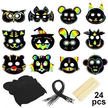 MWOOT 24 Piezas Máscaras de Animales Papel para Rascar ...