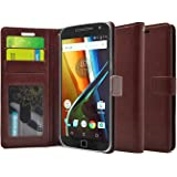 FOSO(TM) [ Moto G4 Plus ] [ Moto G4 ] High Quality PU Leather Magnetic Flip Cover Wallet Case (Brown)