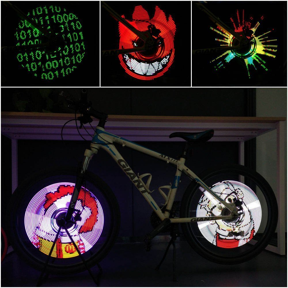 CYCPLUS Bike Spoke Lights – LED Bicycle Wheel Light, USB Rechargeable Bike Light, Programmable Pics Rainproof Rim Accessory, with DIY XuanWheel APP for Night Riding