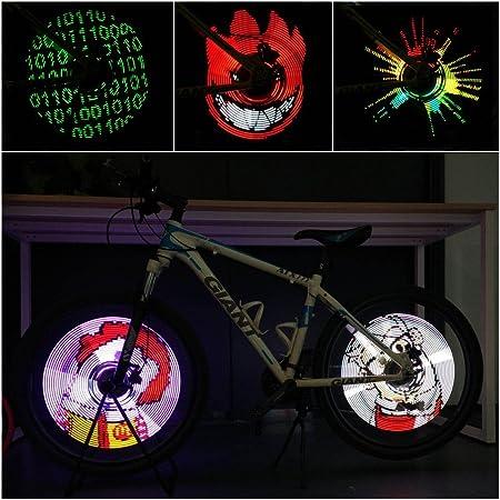 CYCPLUS Bike Spoke Lights – LED Bicycle Wheel Light, USB Rechargeable Bike Light, Programmable Pics Rainproof Rim Accessory, with DIY XuanWheel APP for Night Riding