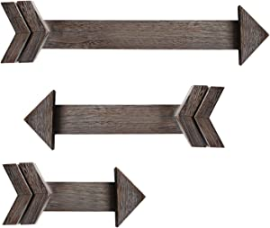 Urban Deco Arrow Décor Set Of 3 Brown Hanging Rustic Arrows Wall Mounted Wood Arrow Sign Holder For Home Farmhouse Living Room Kitchen Dining Bedroom Bathroom ( 3 Rustic Brown Wood Arrows)