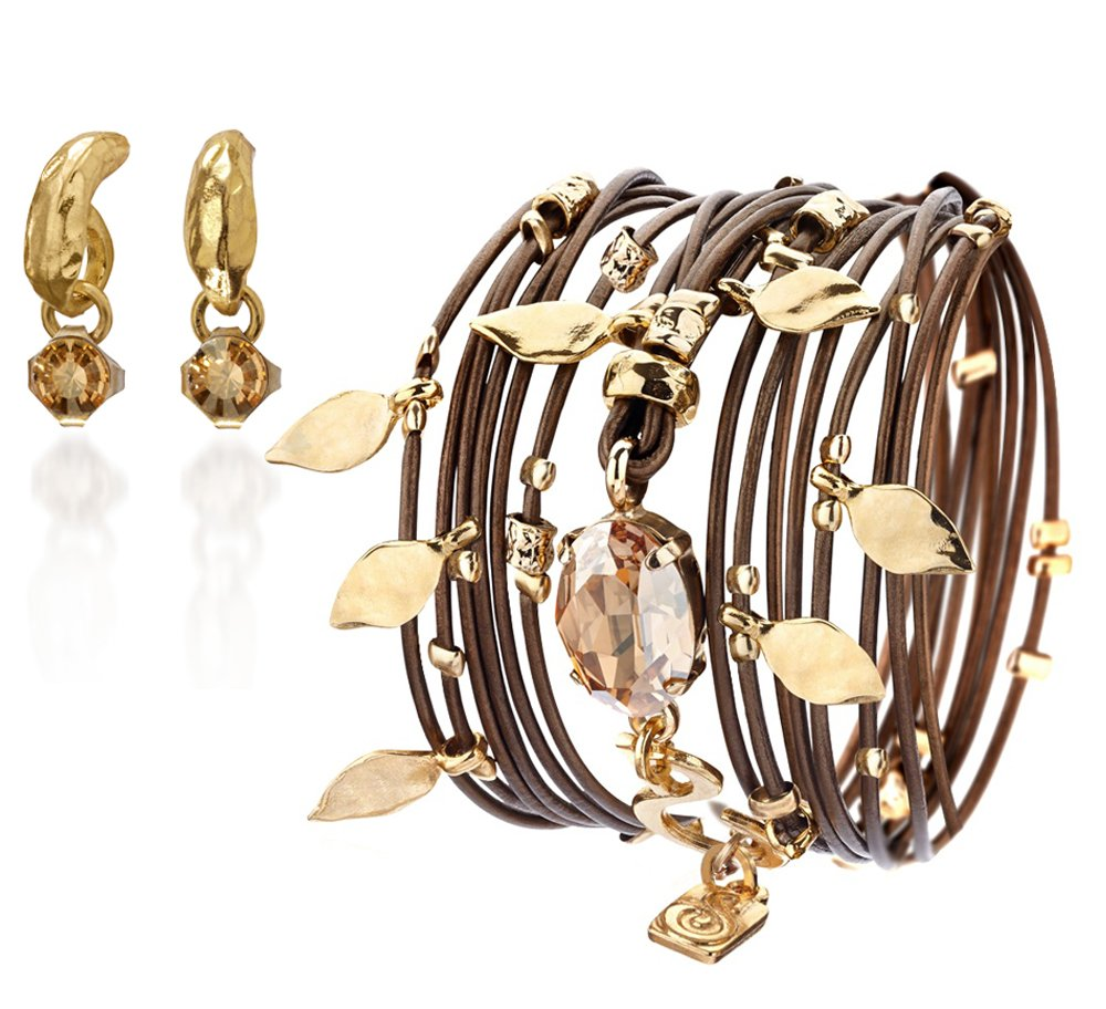 Leather Brown Wrap Bracelet ,Swarovski Crystals ,24 Karat Gold Pendants & A Gold Plated Earring Set Handmade by SEA-Smadar