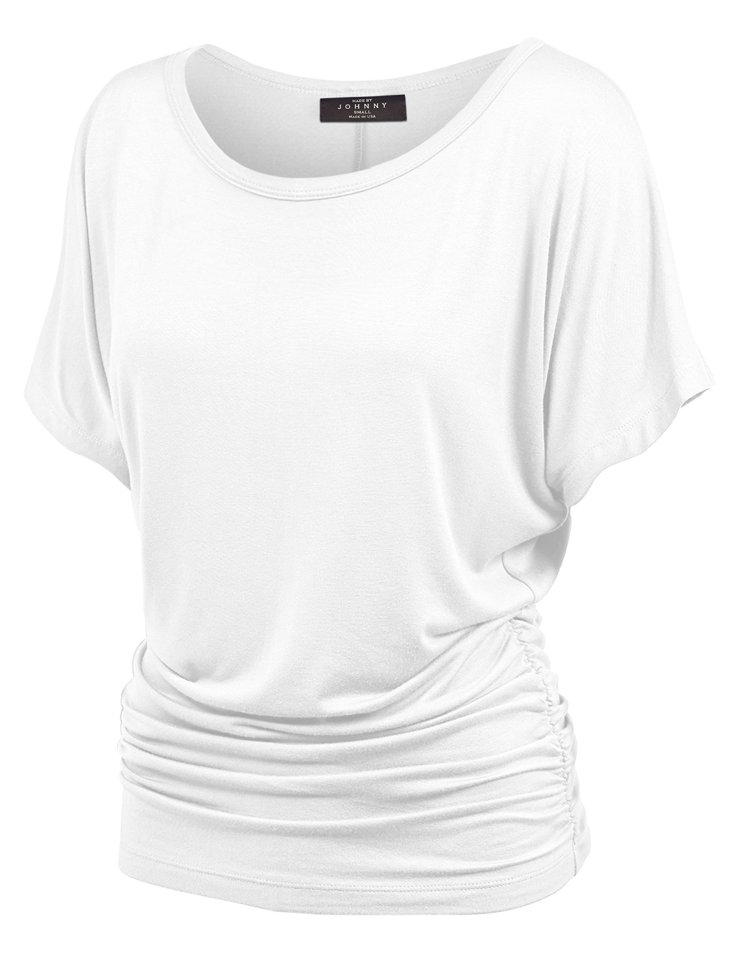Made By Johnny WT817 Womens Dolman Drape Top with Side Shirring M White