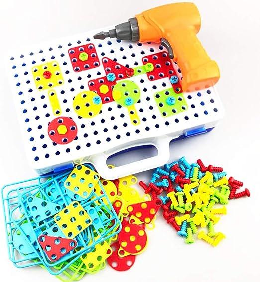 QYHSS 251Pcs Puzzles 3D Montessori Juguetes, con Rejilla y Taladro Eléctrico Juguete de Construcción Caja de Herramientas, para 3-7 años Infantiles: Amazon.es: Hogar