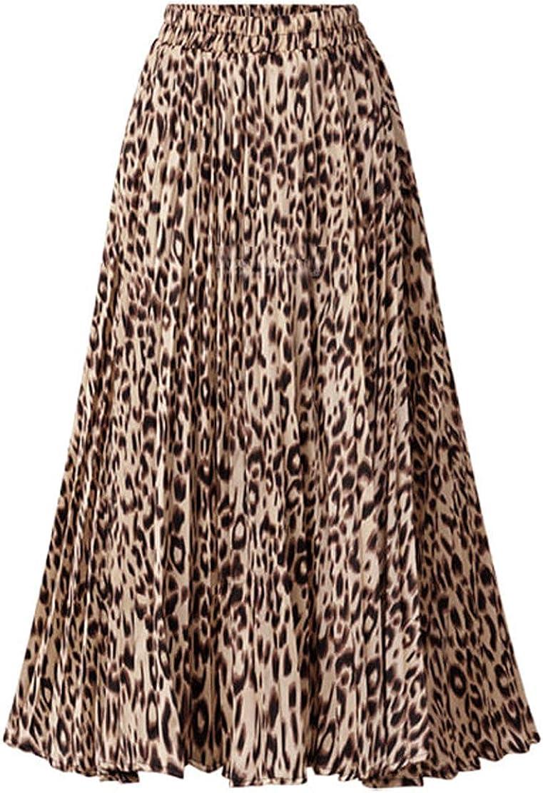 CHARTOU Womens Chic Elastic High Waisted A Line Leopard Print Pleated Shirring Midi-Long Skirt