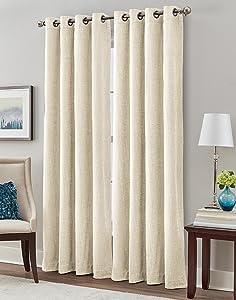 """Peri Home Majestic Chenille Curtain Panel, 84"""", Linen"""