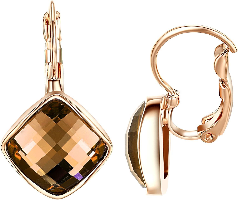 Yoursfs - Pendientes colgantes para mujer, diseño de gota geométrica, cristales cuadrados, chapados en oro blanco y rosa de 18 quilates