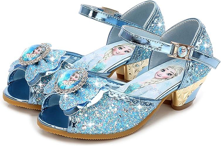 Kinder Mädchen Eiskönigin Elsa Anna Sandalen Prinzessin Karneval Kostüm Schuhe
