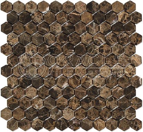 Emperador Dark Spanish Marble 1 inch Hexagon Mosaic Tile Tumbled