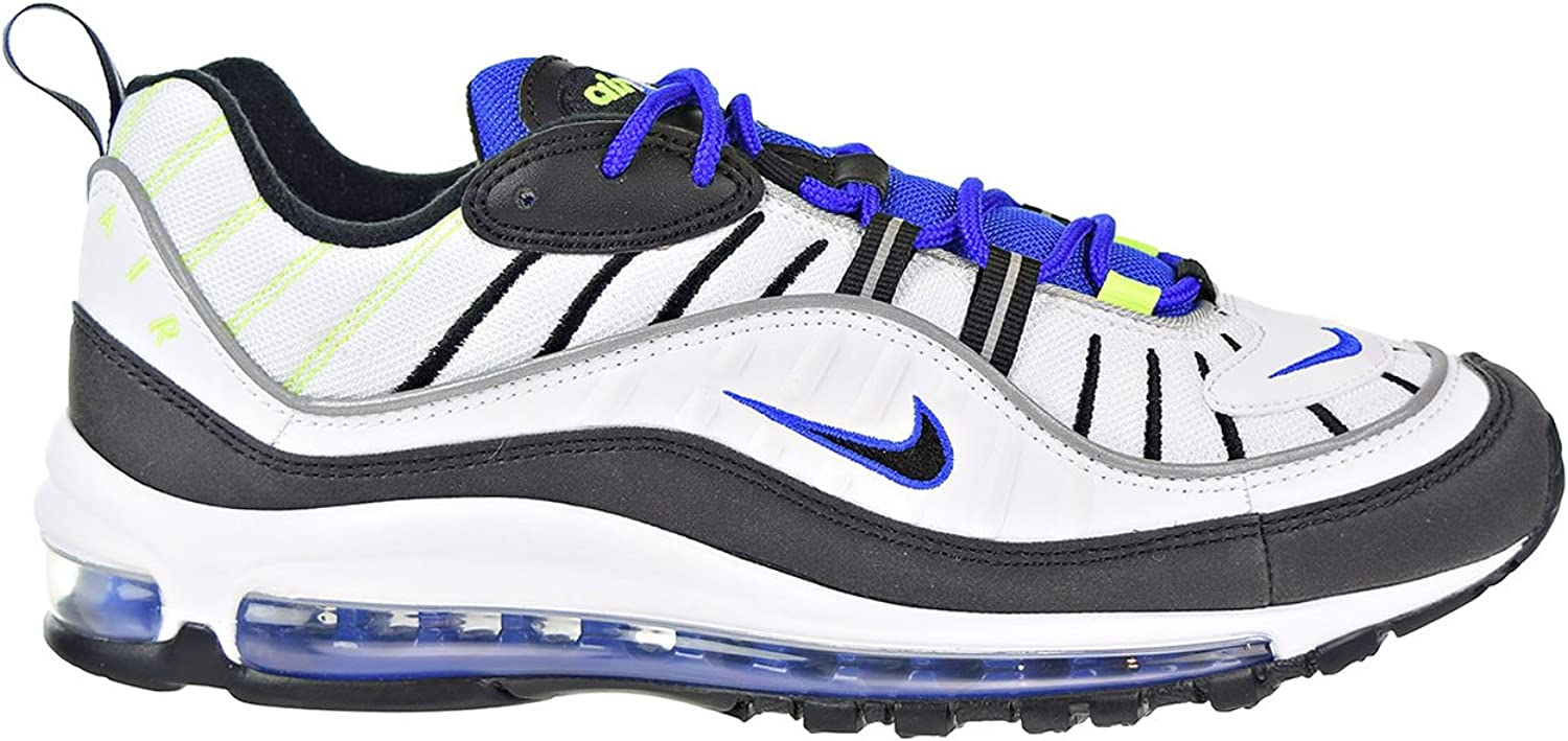 Nike Air Max 98 Men's Running Shoes 白い/黒 Racer/青 Volt 640744-103 (12 D(M) US)